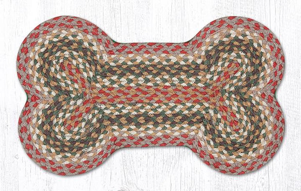 "Capitol Earth Rugs Dog Bone-Shaped Braided Rug, Olive/Burgundy/Green, 13"" x 22"""