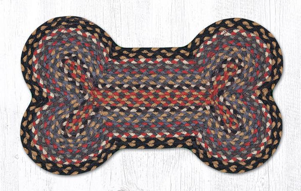 "Capitol Earth Rugs Dog Bone-Shaped Braided Rug, Burgundy/Blue/Grey, 13"" x 22"""