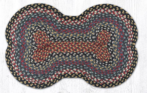 "Capitol Earth Rugs Dog Bone-Shaped Braided Rug, Burgundy/Blue/Grey, 18"" x 28"""
