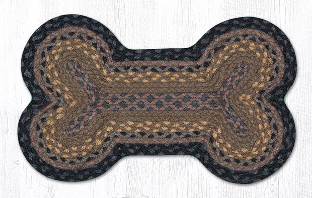 "Capitol Earth Rugs Dog Bone-Shaped Braided Rug, Brown/Black/Charcoal, 13"" x 22"""