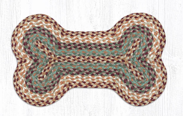 "Capitol Earth Rugs Dog Bone-Shaped Braided Rug, Buttermilk/Cranberry, 13"" x 22"""