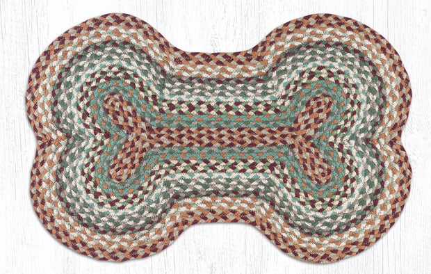 "Capitol Earth Rugs Dog Bone-Shaped Braided Rug, Buttermilk/Cranberry, 18"" x 28"""