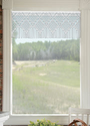 Heritage Lace Diamond Fringe Curtain Collection, White