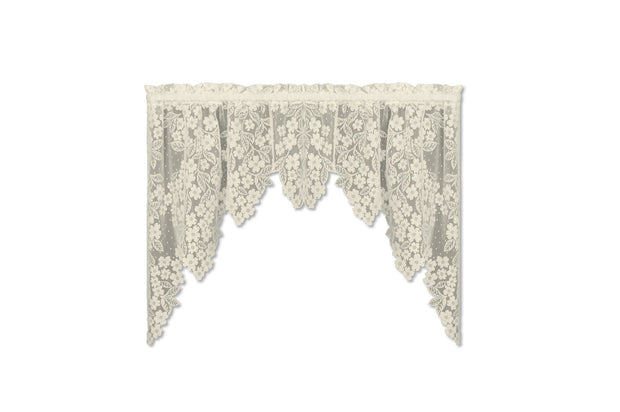 Heritage Lace Dogwood Swag Pair, Ecru