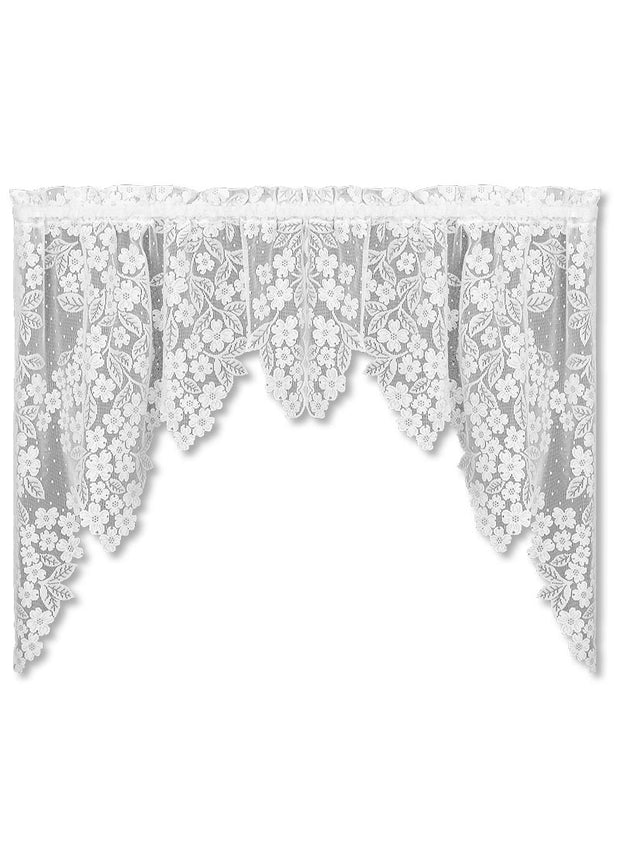 Heritage Lace Dogwood Swag Pair, White