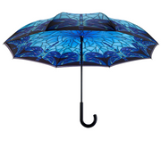 Galleria Stained Glass Dragonfly Reverse Close Umbrella