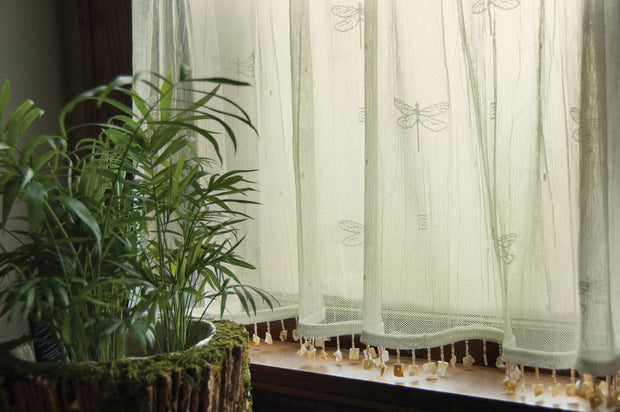 Heritage Lace Dragonfly Curtain Mother of Pearl Trim Detail