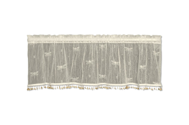 Heritage Lace Dragonfly Valance with Trim, Ecru