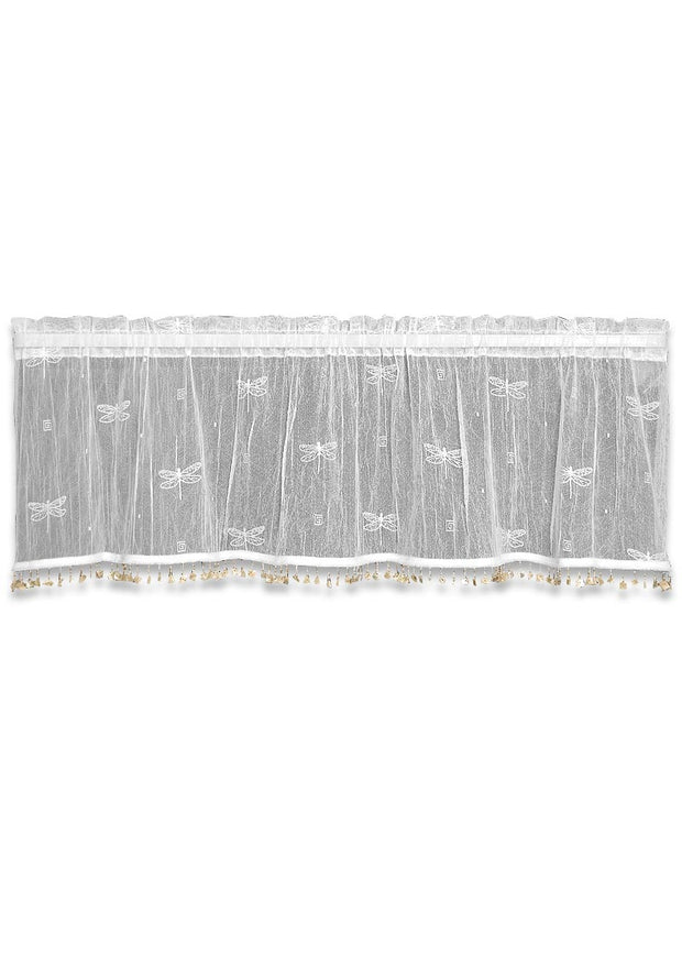 Heritage Lace Dragonfly Valance with Trim, White