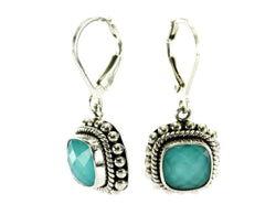 Indiri Collection Signature Square Faceted Crystal Quartz over Turquoise Drop Earrings