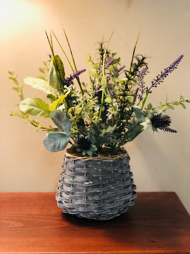 Herb/Thistle Faux Floral Basket
