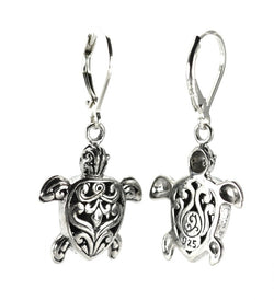Hand-Carved Turtle Filigree Dangle Earrings