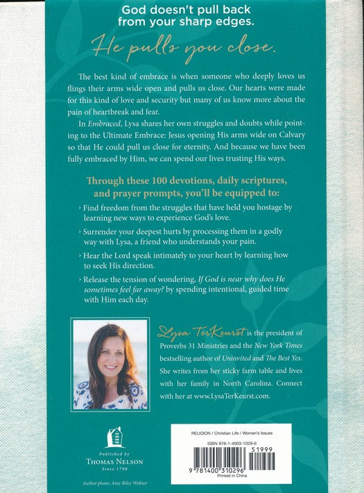 Embraced: 100 Devotions to Know God is Holding You Close, Back Cover