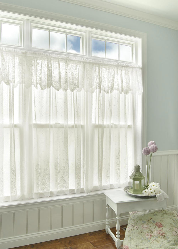 Heritage Lace Floret Curtain Collection, White