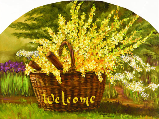 Forsythia Basket Garden Slate Sign