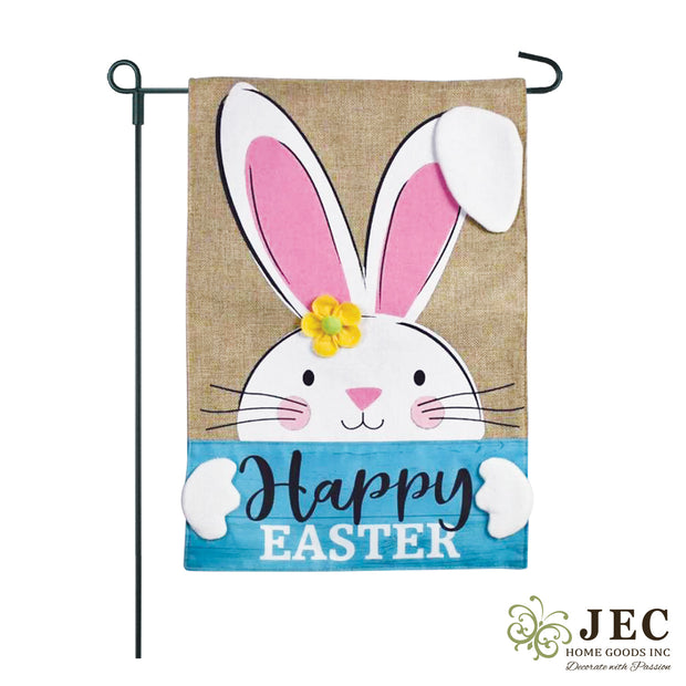 JEC Bunny Happy Easter Burlap Garden Flag