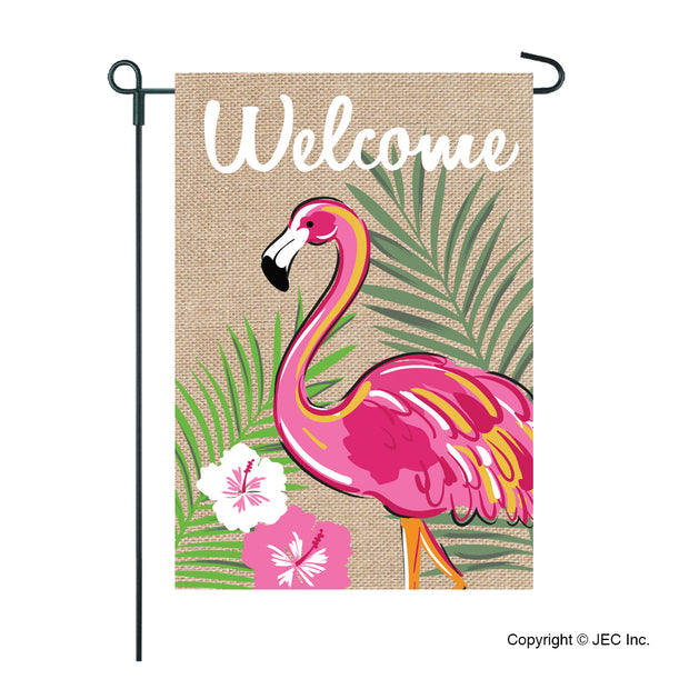 JEC Flamingo Welcome Burlap Garden Flag