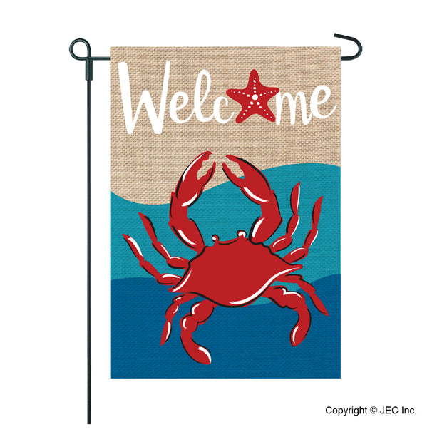 JEC Crab Welcome Burlap Garden Flag