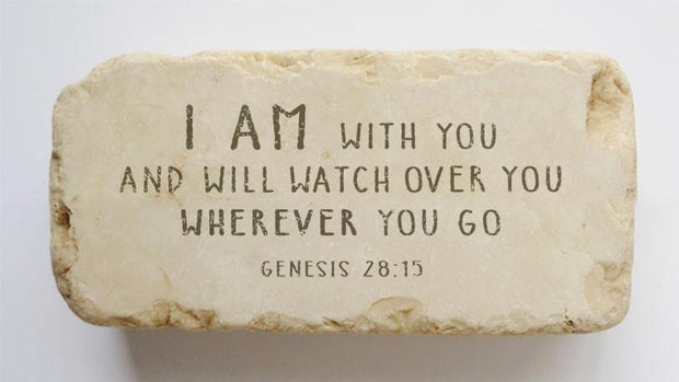 Twelve Stone Art Genesis 28:15 Scripture Stone, Half Block