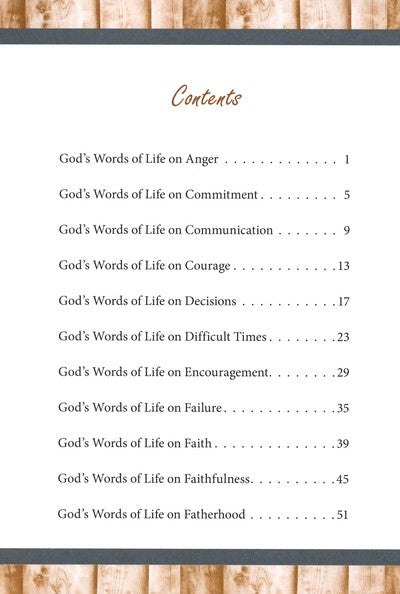 God's Words of Life for Fathers, Contents