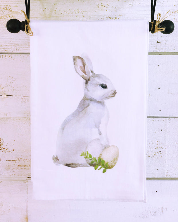 Southern Sisters Gray Rabbit Gourmet Flour Sack Tea Towel
