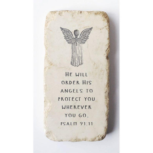 Psalm 91:11 Angel Scripture Stone
