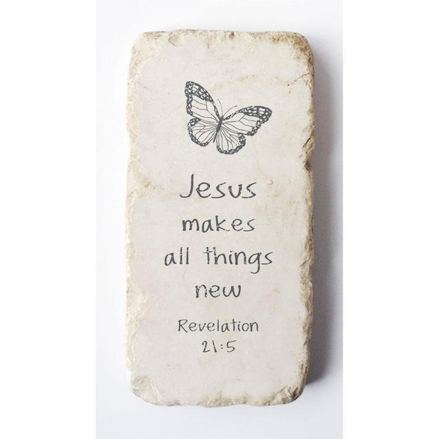 Revelation 21:5 Butterfly Scripture Stone