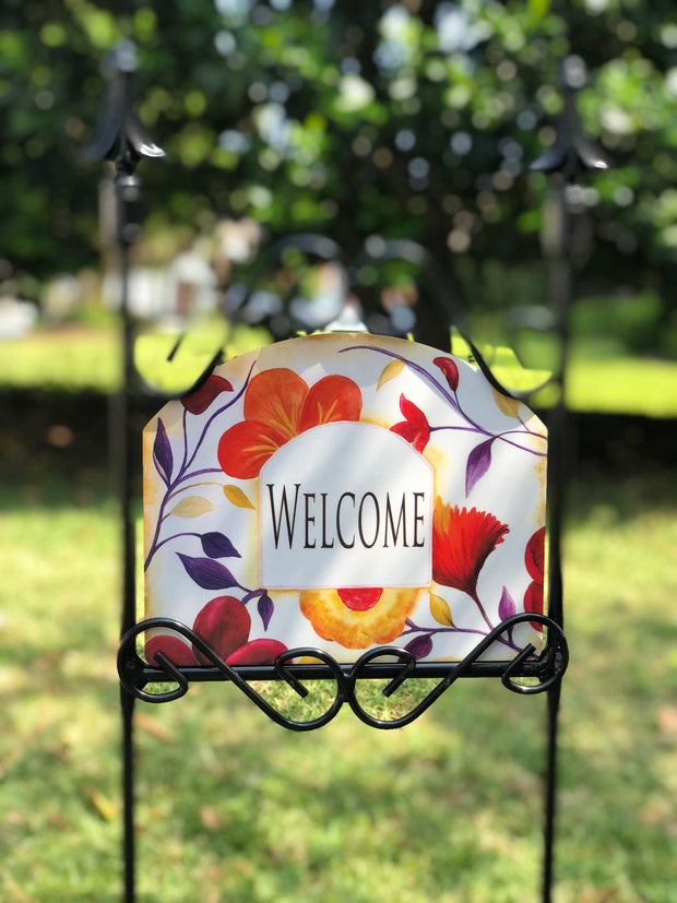 Heritage Gallery Amber Flowers Welcome Garden Sign