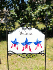 Heritage Gallery Americana Stars on White Garden Sign