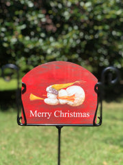 Heritage Gallery Angel Snowman Merry Christmas Garden Sign