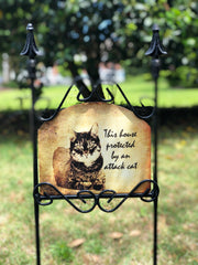 Heritage Gallery Attack Cat Garden Sign