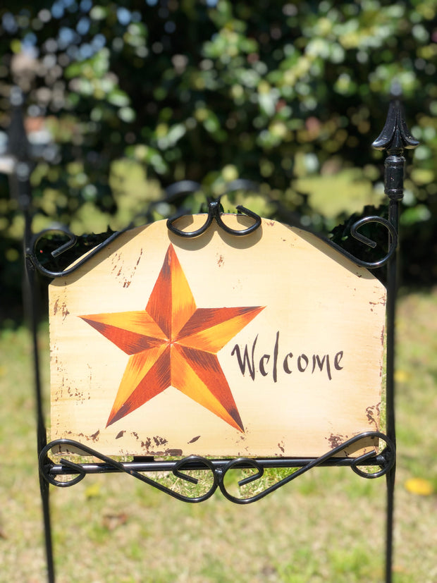 Heritage Gallery Barn Star Welcome Garden Sign