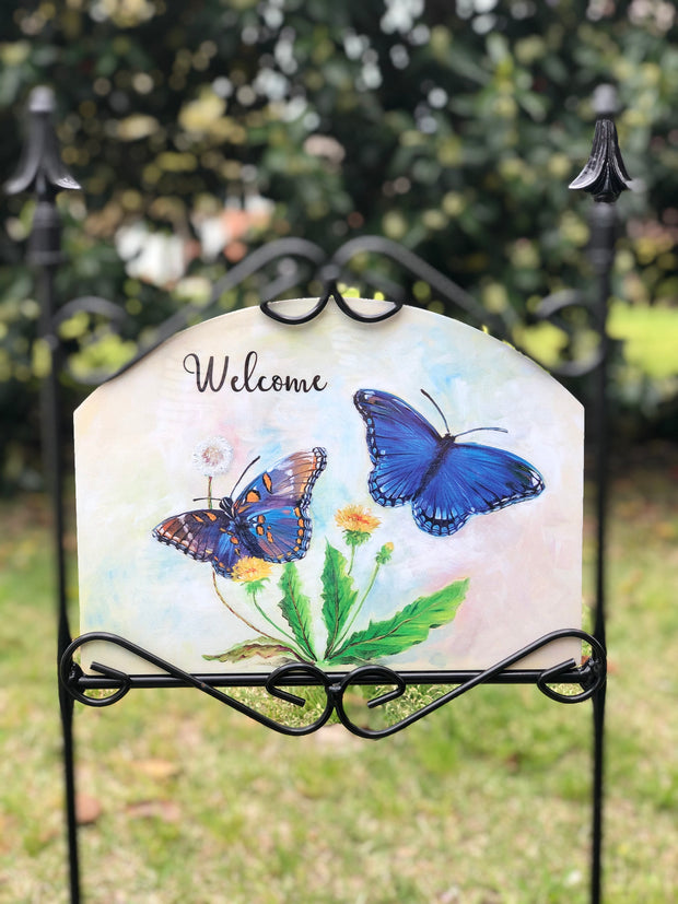 Heritage Gallery Blue Morpho Butterflies Garden Sign