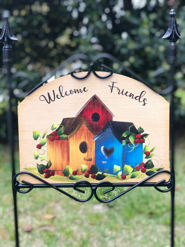 Heritage Gallery Triple Birdhouse Blue Garden Sign