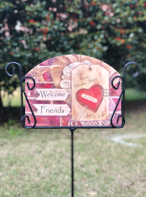 Heritage Gallery Burlap Heart Garden Sign