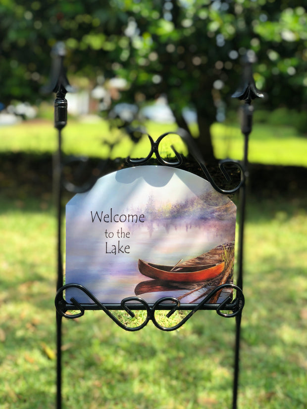 Heritage Gallery Canoe Welcome to the Lake Garden Sign
