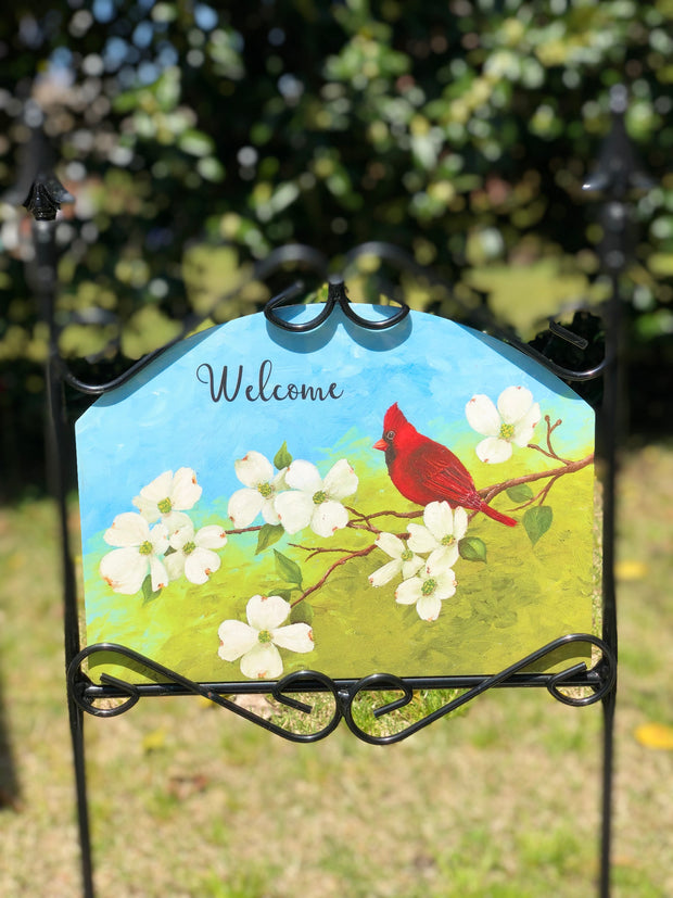 Heritage Gallery Cardinal on Dogwood Garden Sign