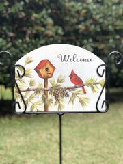 Heritage Gallery Cardinal with Pinecones Garden Sign