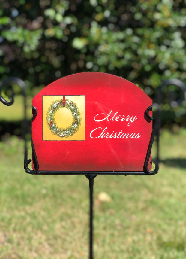 Heritage Gallery Christmas Wreath Garden Sign