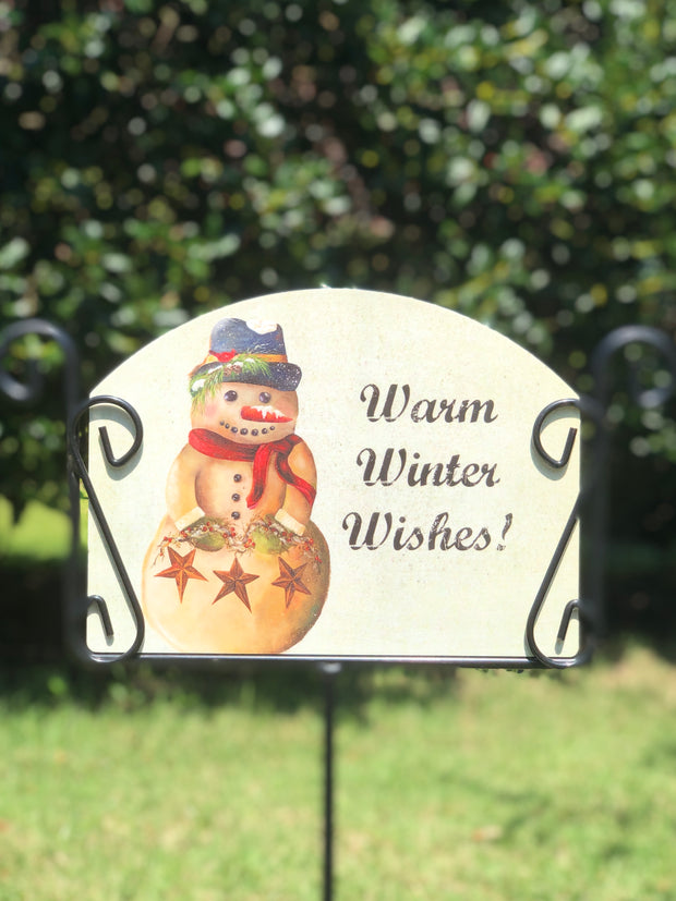 Heritage Gallery Coal Cracker Snowman Garden Sign