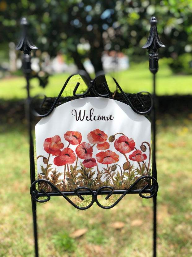 Heritage Gallery Coral Poppies Garden Sign