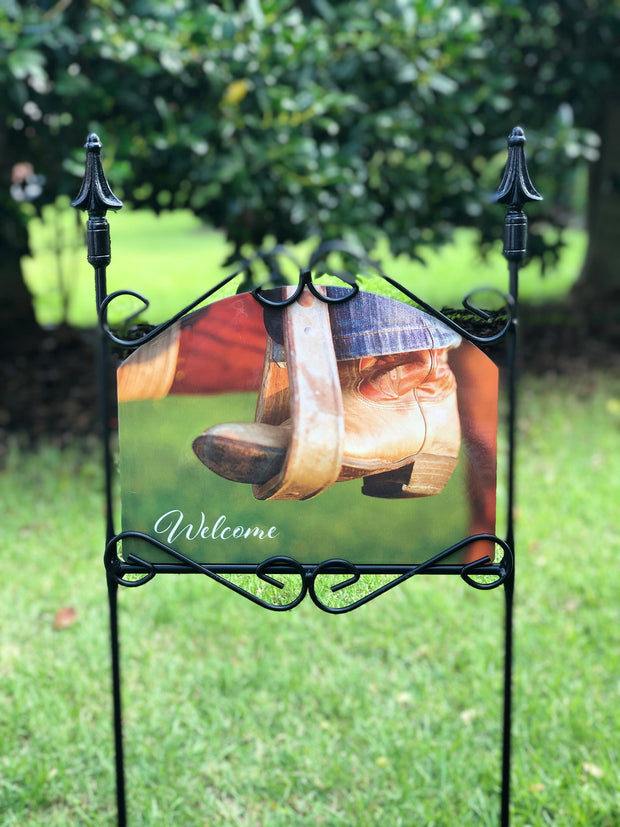 Heritage Gallery Cowboy Boots Welcome Garden Sign