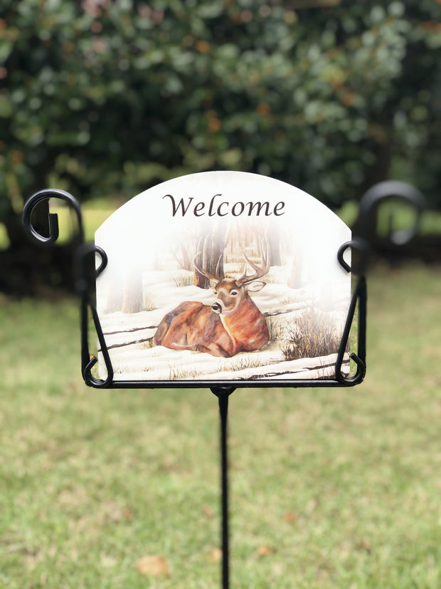 Heritage Gallery Deer Welcome Garden Sign