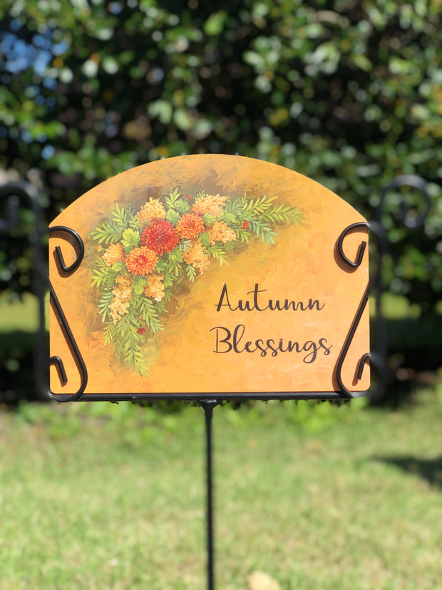 Heritage Gallery Fall Swag Autumn Blessings Garden Sign