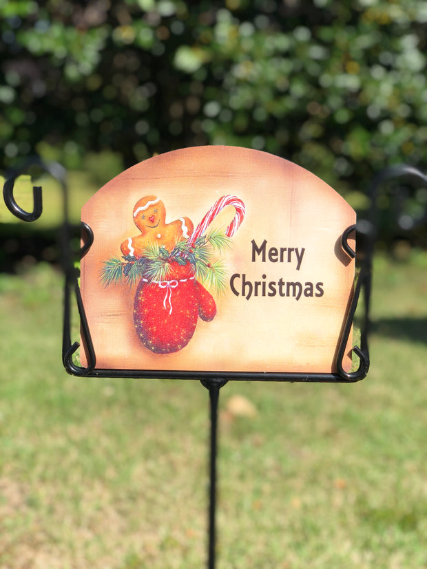 Heritage Gallery Gingerbread Mitten Garden Sign