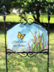 Heritage Gallery God Bless Our Home Garden Sign