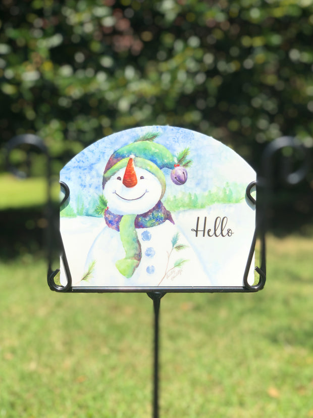Heritage Gallery Happy Snowman Garden Sign