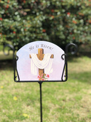 Heritage Gallery He is Risen Garden Sign