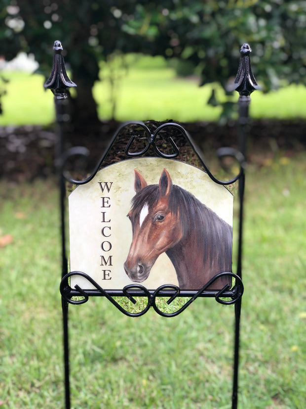 Heritage Gallery Horse Welcome Garden Sign