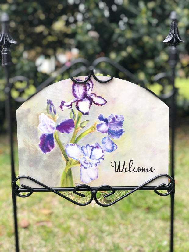 Heritage Gallery Triple Iris Welcome Garden Sign